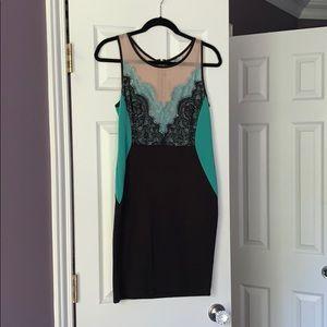 Teal & Black Mini Dress